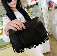 2014 New  women shoulder bag  tassel chain  Mini totes bucket bag black handbag vintage Fashion messenger bag gift for women
