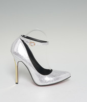 Wholesale and retail 2014 Ankle strap Patent Leather sexy metal thin high heel Pointed Toe women's shoes brand wedding pumps