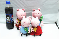 EW-PP-023 factory direct with no PS 100% real photo 4pcs/lot plush 19cm peppa+george+25cm george+pappa toys baby toys peppa pig
