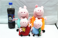 EW-PP-025 factory direct with no PS 100% real photo 4pcs/lot plush toys 19cm peppa,george+30cm mom,daddy baby toys peppa family