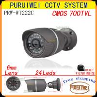"100% Original 1/4"" CMOS 700TVL IR-CUT Filter 24led IR Day/night outdoor/indoor waterproof CCTV Camera with bracket.free shipping"