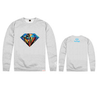 2014 New Men hip hop Mixed colors Diamond sweatshirt men's  High quality o-neck long-sleeve pullover sweatshirt