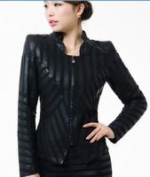 2014 Black Jackets Motorcycle leather jacket women leather coat 5XL plus size mother clothing outerwear coats patchwork fashon