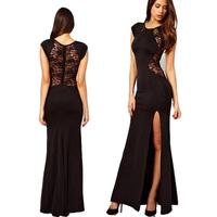 New summer high quality lace sleeveless dress slit  prom dress casual dress nightclub