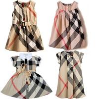 2-6yrs Baby Girls Dresses dress Fashion summer 2014 New short-sleeved Baby girls brand Plaid Dress 100% cotton Free shipping 215