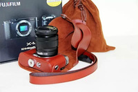 New  Genuine Leather Camera Case Bag Protective Cover  for Fujifilm X-M1 xm1  XA1 digital cameras with camera strap