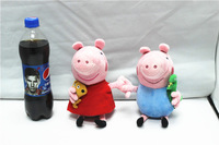 EW-PP-021 factory direct with no PS 100% real photo 2pcs/lot plush 25cm peppa+george toys baby toys peppa pig