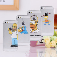 Hot 2014 top fasion Transparent TPU soft shell cover 8 case simpsons the homer simpson gasp logo Foriphone 5 5s 5G-free shipping