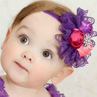 New Baby Kids Toddler Lace Flower Elastic Headband Hairband Headdress Headwear Free Shipping
