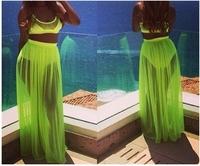 Summer dress 2014  Fashion sexy  party dress for women  Fluorescent green Tank 2 piece set women bodycorn dress Free shipping