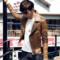 Men's coat fashion male leather clothing spring and autumn male leather clothing jacket slim blazer PU suit jacket