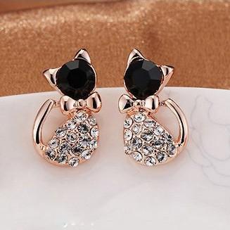2015 New Hot !!! Korean Fashion Fine Jewelry Gold Plated Rhinestone Cat Cute Sweet Dazzling Bow Stud Earrings For Women E-176(China (Mainland))