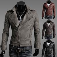 2014 spring men's clothing motorcycle slim male leather jacket outerwear male leather clothing outerwear