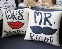 CU012 Mr.Mrs.Right lover lip wedding film linen car home ornament pillow case cushion cover  promotion wholesale
