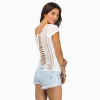 drawstring back lace patchwork woman skinny T-shirt for wholesale and free shipping haoduoyi