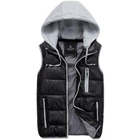 2014 Autumn Winter Casual Hooded Vest Men High Quality Cotton-padded Waistcoat Lover Comfortable Couples Sleeveless Jacket