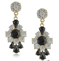 New Fashion Lovely Candy Color Gold plated Synthetic Stone and Crystal Stud Earrings for Women
