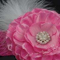 Party girl headband satin fabric pink flower feather headband lace headband photo prop couture infant headband 8pcs/lot