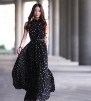 2014 Womens Elegant Summer Bohemia Full Dress Chiffon Long Dress Women's Dot Vest Maxi Dress Free Shipping