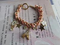 New 2014 Fashion Vintage Rhinestone Star Eiffel Tower Love Heart Chain Bracelet Pink Rope