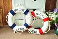 2014 New Hot Sale 1PCS Fashion Mediterranean Family Adorment Life Buoy Crafts Living Room Decoration Nautical Home Decor 870215