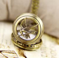 2015 new arrival Vintage skeleton designer small hunger game Steampunk Pocket Watch Necklace