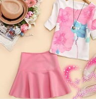 Korean version of the new spring 2014 women's round neck T-shirt printed piece skirts