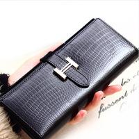 The crocodile grain wallet. Ms. wallet. Korean version. Multi clamping wallet. Long Wallet
