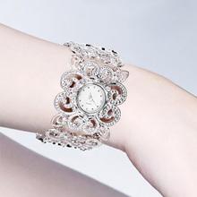 Women Rhinestones Silver Plated Alloy Bangle Quartz Wrist Watch(China (Mainland))