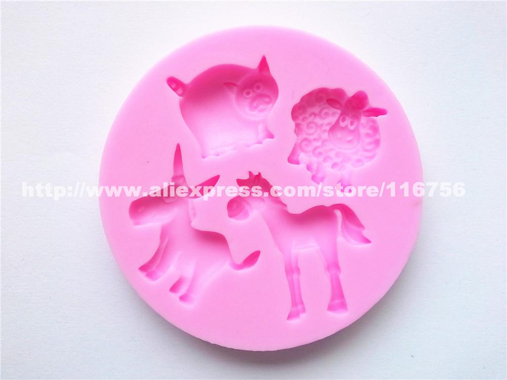 Novo grátis frete Pig & cavalo forma molde de Silicone bolo molde decoração Fondant bolo 3D Food Grade Silicone Mould 097(China (Mainland))