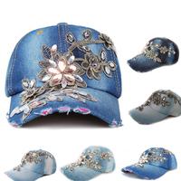 Free shipping 2014 New Fashion Quality Adjustable Women's Denim Cap With Rhinestones Flowers Jeans Baseball Snapback Hat G4048