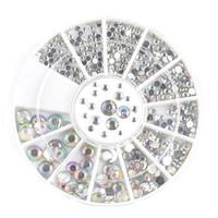 5 Sizes 800 pcs Nail Art Tips Crystal Glitter Rhinestone Decoration+Wheel