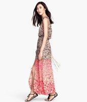 Hot sale Gradient brown pink leopard print long dress elastic waist 2014 new summer High side slit dress free shipping   #C0726
