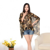 2014 New summer women Vintage camouflage pattern print chiffon  Retro brand blouse casual  Batwing sleeve loose shirt  #zpp628