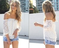 Women Summer Long Sleeve Cotton White Lace Shirt & Blouse Sexy Casual Tops for Women Blusas Femininas 2014 6470