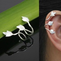 Gothic Punk Rock Silver Plated Leaf Clip On Ear Cuff Earring Wrap No Piercing