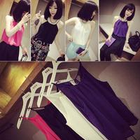 Women's Sleeveless T-shirt Bilayer Chiffon Sling Camisole T-shirts Tops Blouse  #58171