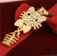 Free shipping Lovely cat bone dust plug with bowknot Hello Kitty dust plug wholesale