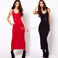 Fashion basic solid color knitted elastic slim placketing full dress one-piece dress tank dress haoduoyi