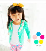 wholesale 2014 autumn Han edition splicing cardigan of the girls Children's long-sleeve t-shirts free shipping