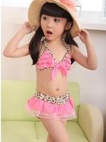 2014 biquini infantil girls bikini korean children girls three-piece swimwear brand bikini swimsuit girl leopard free shipping