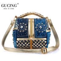 Gold diamond women's handbag cloth denim women's handbag small bag fashion women's bags female one shoulder cross-body