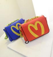 2014 new fashion leather women  messenger bag one shoulder bag  chain  small bag