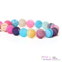 """(Grade B) Synthetic Agate Gemstone Loose Beads Ball Mixed About 8mm Dia,35.6cm(14"""") long,1 Strand(approx 48PCs) (B34125)"""
