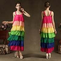 New 2014 Spring Summer Women Fashion New Sexy Colorful Sun Women Chiffon Dress Cake Style Rainbow Evening Dress