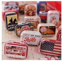 Vintage British Style Mini Tin Storage Box Lovely Metal Candy Jewelry Box Pill Case Multi-purpose Gift Storage Iron Leather Box