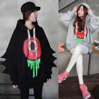 New 2014 Fashion Autumn Long-sleeved Jacket Fat Lovely Spring Harajuku Female Personality Dinosaur Sleeve Hooded Pullover