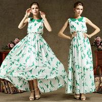 Hot Girls Cute Summer Fall Fashion Slim Green Print Chiffon Peter Pan Collar Full Maxi Casual Brief Evening  Dresses Beach Wear