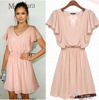 2014 free shipping designer women's butterfly sleeve v-neck light pink dress D5083