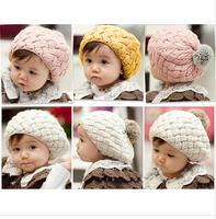 Free shipping Qiu dong is lovely rabbit hair ball ball buds cap children knitted cap